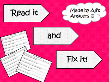 Sentence Proofreading and Editing Activity *Editable*