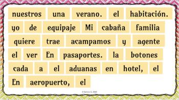 Sentence Puzzle: Las Vacaciones