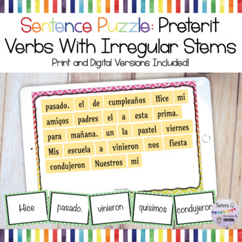 Sentence Puzzle: Preterit Verbs with Irregular Stems
