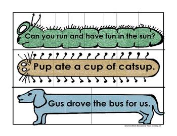 Sentence Puzzles CVC Words - Unscramble Silly Sentences
