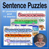 Sentence Puzzles Mega Pack - Punctuation & Sight Word Practice with puns & jokes