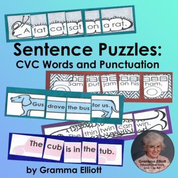 Sentence Puzzles with CVC Rhyming Words Unscramble Silly Sentences