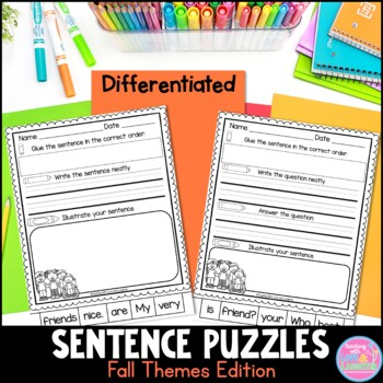 Fall Themed Sentence Puzzles