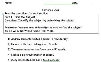 4 Types of Sentence Quiz