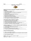 Sentence Quiz for Fifth Graders