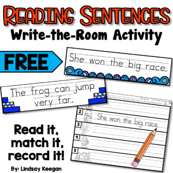 Sentence Reading Center - FREE Write the Room Activity