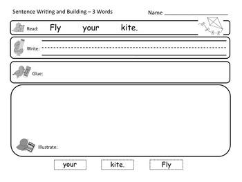 Sentence Reading, Writing, and Building Printable Worksheets 5 FREEBIES NO PREP!