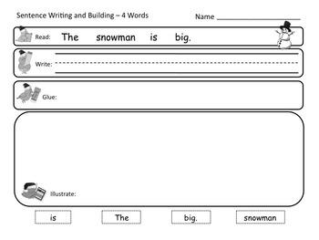 Sentence Reading, Writing, and Building Printable Worksheets FREEBIE!! NO PREP!!