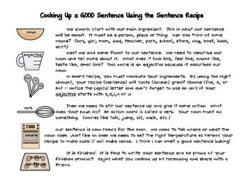 Sentence Recipe Word Work Packet