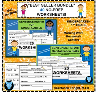 Sentence Repair: Best Sellers Bundle - 40 No-Prep Printables - Editing, Writing