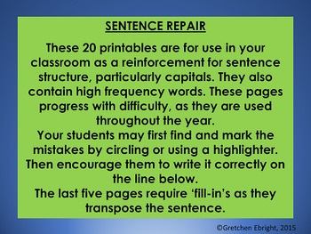 Sentence Repair - Capitalization