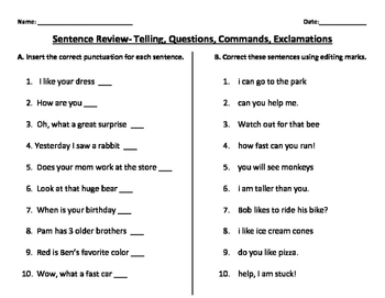 Sentence Review- Telling, Commands, Questions, Exclamations