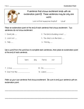Sentence Rules - Ending Punctuation - Farm Theme