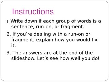 Sentence, Run-On, or Fragment? A PowerPoint Activity #4