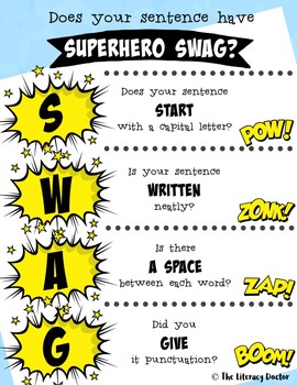 Sentence SWAG! Does your sentence have Superhero SWAG? FREE! FREEBIE!