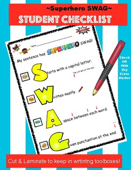 Sentence SWAG Student Checklist
