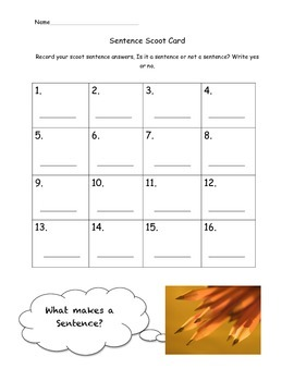 Sentence Task Cards