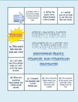 Sentence Scramble Board Game: Simple, Compound, and Complex Sentences