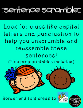 Sentence Scramble FREEBIE!!!