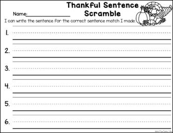 Sentence Scramble - Fall Theme