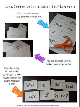 Sentence Literacy Activity (End of the Year)