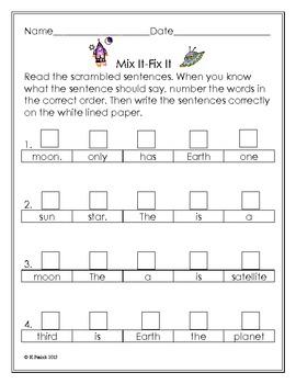 Sentence Scramble-Mix It Fix It-Space