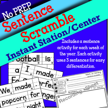 Sentence Scramble NO PREP station/center activity