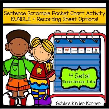 Sentence Scramble Pocket Chart Activity Bundle! **16 Sentences!**