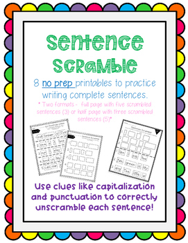 Sentence Scramble SET