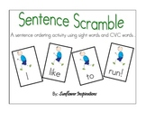 Sentence Scramble: Sentence Ordering Activity with Sight Words and CVC words