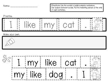 Sentence Scramble: Sight Words in Sentences