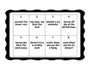 Sentence Scramble Task Card