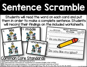 Sentence Scramble - Winter Themed
