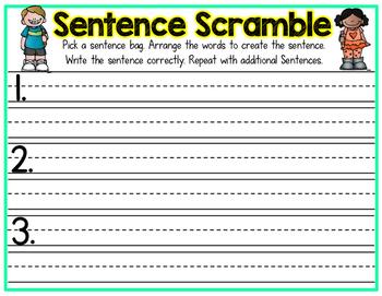 Sentence Scramble Word Work Center