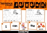 Autumn / Fall Sentence Scramble with Cut and Paste Worksheets