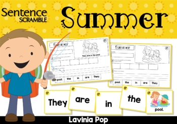Sentence Scramble with Cut and Paste Worksheets - Summer