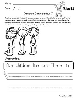 Sentence Scramble and Comprehension (critical thinking in Gr. 1 and 2)
