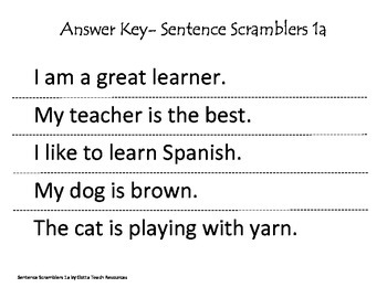 Sentence Scramblers 1a