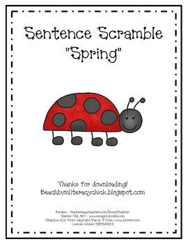 Sentence Scrambles - Spring Theme