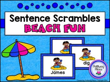 Sentence Scrambles: Beach Fun Sentence Building Activity