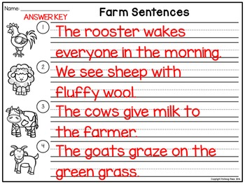 Sentence Scrambles: Farm Sentence Building Activity
