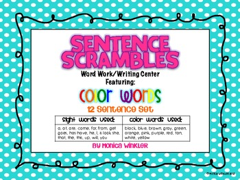 Sentence Scrambles Featuring Color Words {Differentiated}