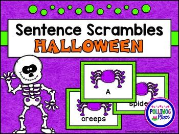Sentence Scrambles: Halloween Sentence Building Activity