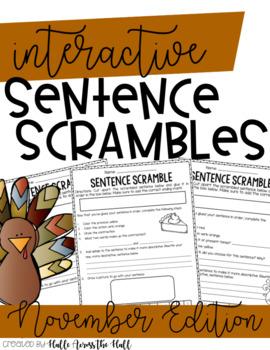 Sentence Builders | 2nd Grade Sentence Builders | November Sentence Scrambles