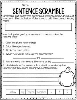 Sentence Scrambles October