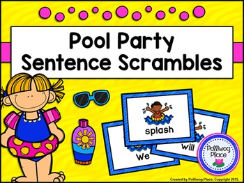 Sentence Scrambles: Pool Party Sentence Building Activity