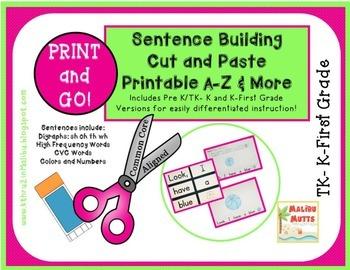 Reading Sentence Scramble-Common Core Aligned-Print and Go!  NO PREP!