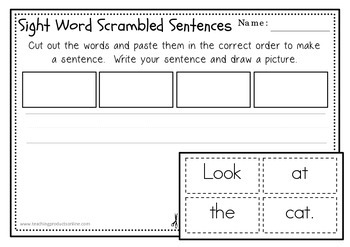 Sentence Scrambles with Sight Words