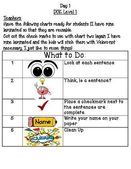 Sentence & Sentence Fragment Center/Station Activities