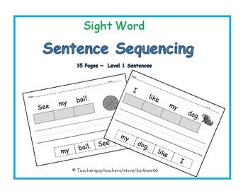 Sentence Sequencing:  Sight Word Sentences: Read, Cut, Glue, Write